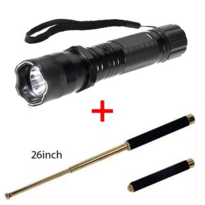 Combo Self Defense Stun Torch With Flashlight Torch & Folding Stick 26 Inches Expandable Branded Baton