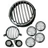 Royal Enfield Black & Chrome Headlight Grill Cover Combo Bullet Classic 350 &500