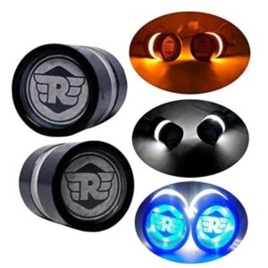 3C Handle Bar End LED Bike Turn Signal Indicator Blue Light Royal Enfield Bullet
