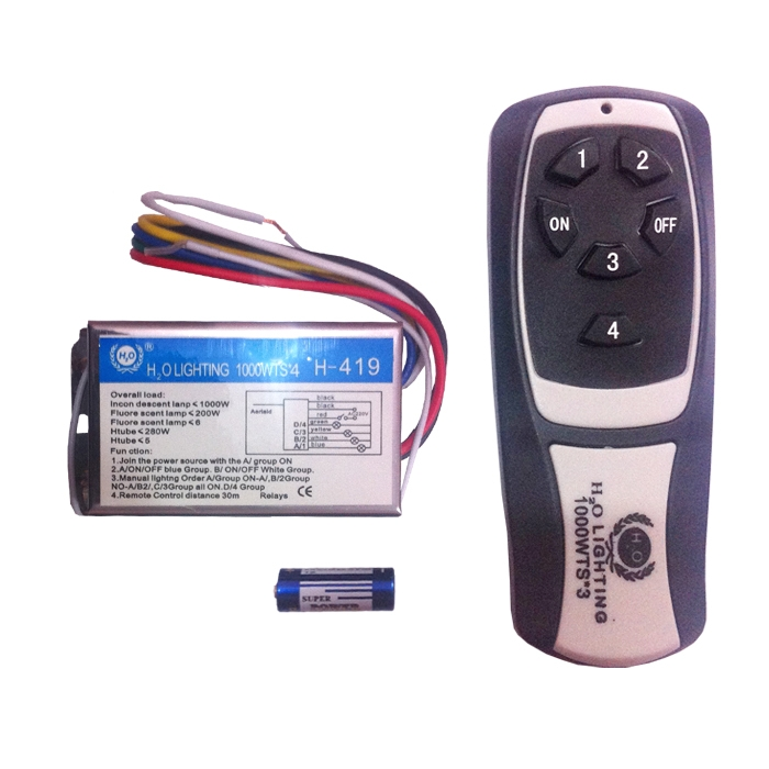 4 Way Remote Switch H2O, Wireless Remote Control Switch For Light, Fan, TV, Cooler, 10 Amp AC Load, Work On RF Radio Frequency
