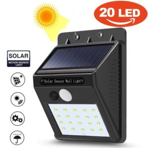20 LED Solar Power PIR Motion Sensor Wall Night Lights Outdoor Waterproof Lamps