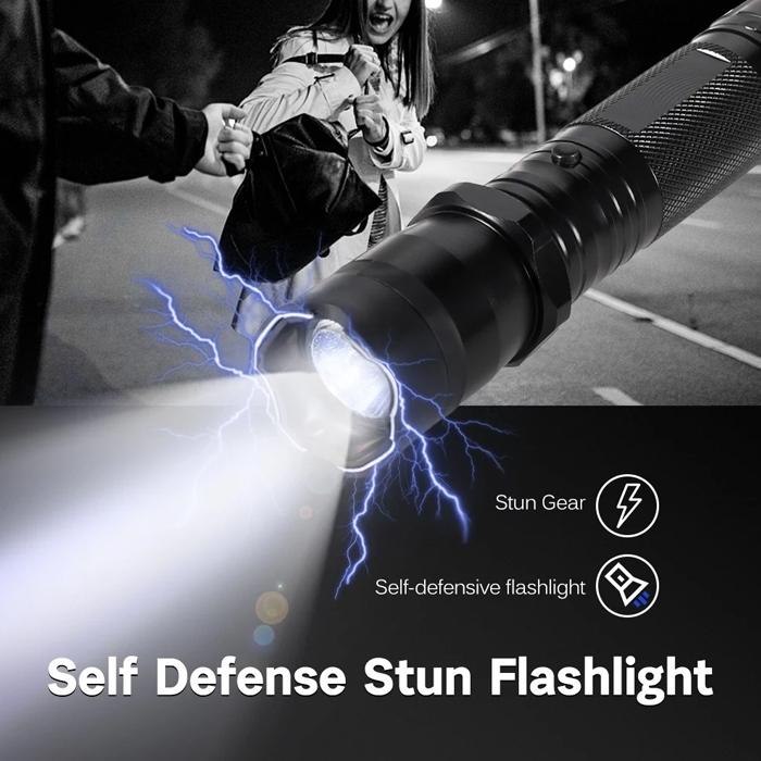 Outdoor Travel Stun Flashlight Electronic Torch Shockers 1.6 Million Voltage Rechargeable Stun Flashlight Self Defense Guard Torch, Women Safety, Self Defense Current Torch