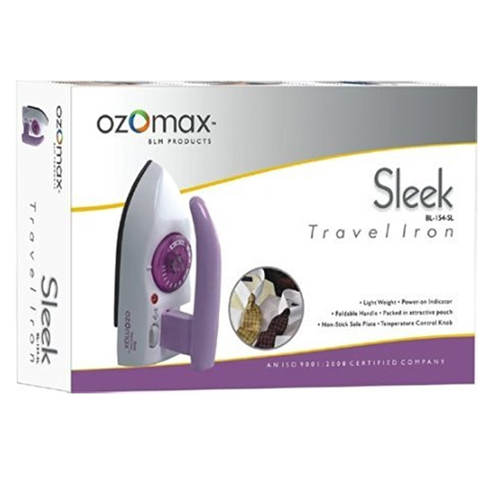 OZOMAX Sleek Mini TRAVEL IRON Light Weight Foldable Handle Temperature Control