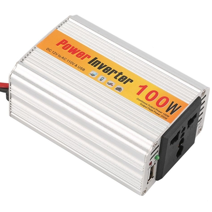 100 Watt Car Auto Converter/ Inverter 12V DC to 220V AC + USB 5V For For Home, Car, School Bus DVR Camera, Solar Panel, Color TV, Mobile Charger, CFL