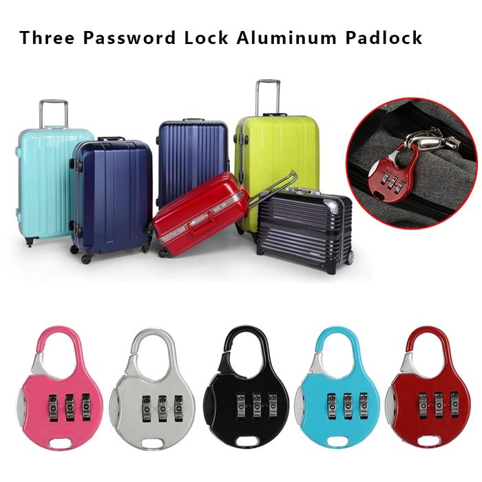 3 Digit Re-Settable Code Password Number Lock Combination Bag Padlock
