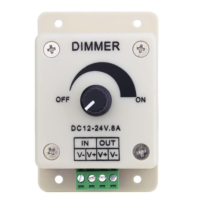 12V-24V 8A LED Light Dimmer, Brightness Adjustable Controller, PWM Dimmer Controller Switch, Power Saver for LED Strip Light