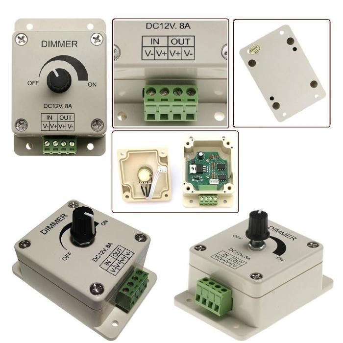 12V-24V 8A LED Light Dimmer, Brightness Adjustable Controller, PWM Dimmer Controller Switch, Power Saver for LED Strip Light