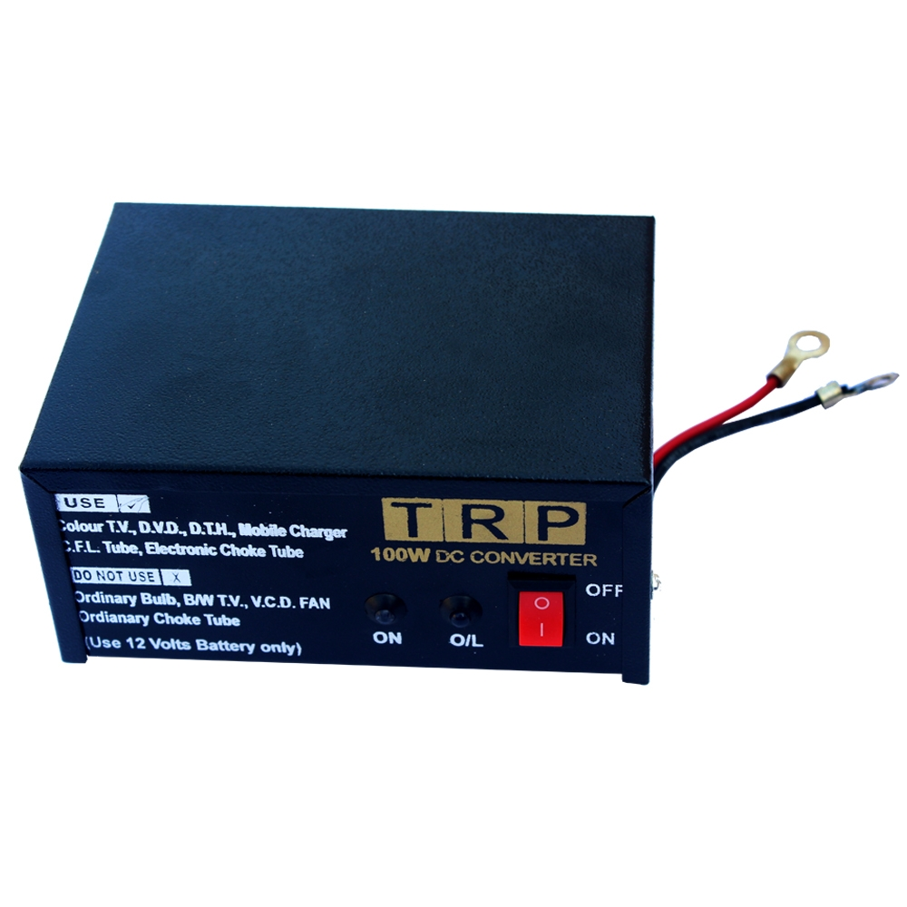 12V DC to 220V AC 100 Watt DC Converter for Home, Car, Solar Panel, Color TV, Mobile Charger, CFL
