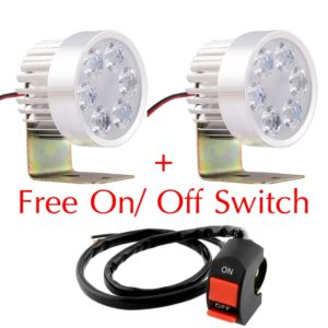 Super Bright 6 LED 18W Light/Driving FOG Spot DRL Lamp For Bikes & Cars, 1 Pair + Free ON/OFF Switch