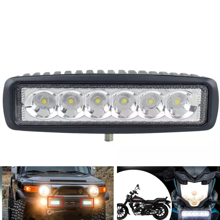 6 CREE LED 18W 6 Inch Off Road, Spot Light, Fog Light Bar, Driving Auxiliary Lamp For Car/Bike, SUV, Truck, Boat Work Lights, Super Bright White