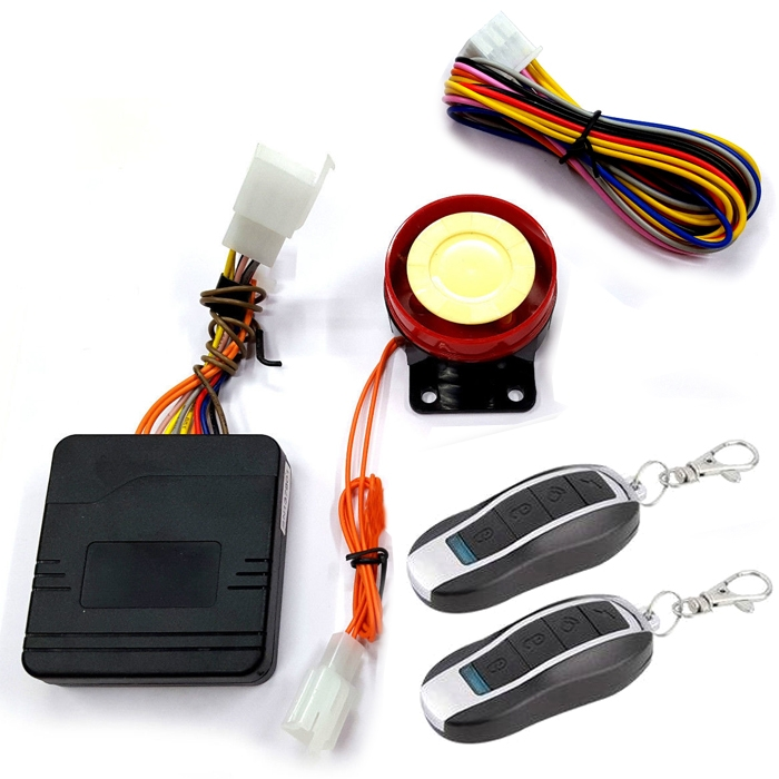 Motorcycle Bike Key-Less Anti-Theft Security Alarm System With Double Remote Control 12V Kit For All Bikes/ Scooter