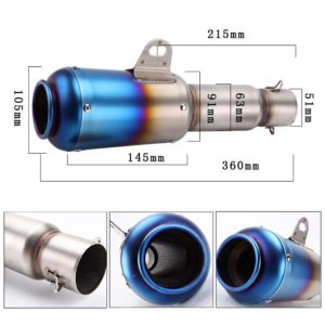 Universal Long Rainbow Blue Head Round (Rocket) Exhaust Silencer, Muffler Pipe & AKRAPOVIC Sticker for all Bikes Motorcycle