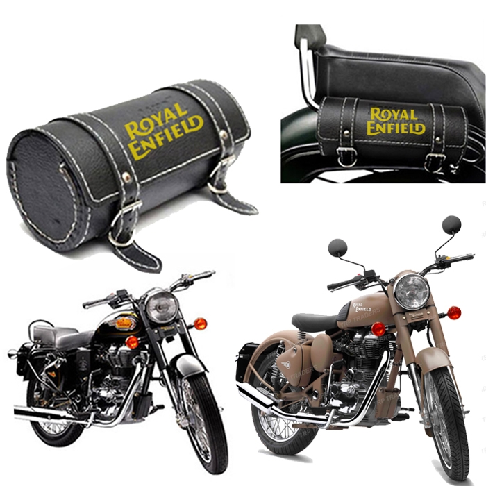 New Stylish Round Saddle Bag Back Carrier/ Tool Bag/ Utility Bag For Royal Enfield 350/ 500 Bullet