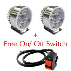 Super Bright 4 LED 12W Light/Driving FOG Spot DRL Lamp For Bikes & Cars, 1 Pair + Free ON/OFF Switch