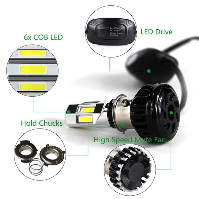 H4/H6 Super Bright 6 COB LED 35W RTD M:02E HID Head Light Bulb 3500LM Hi Low Beam For Bike/Car, DC 9~18 Volt