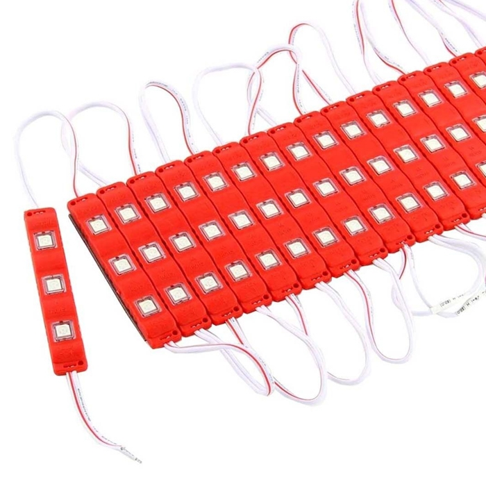 Red 3 LED Module, DC 12V Waterproof Module Lens High Glow Light Strip 5630/ 5730 LED, Injection LED Module, SMD Module Decorative Light Lamp With Pasting Tape