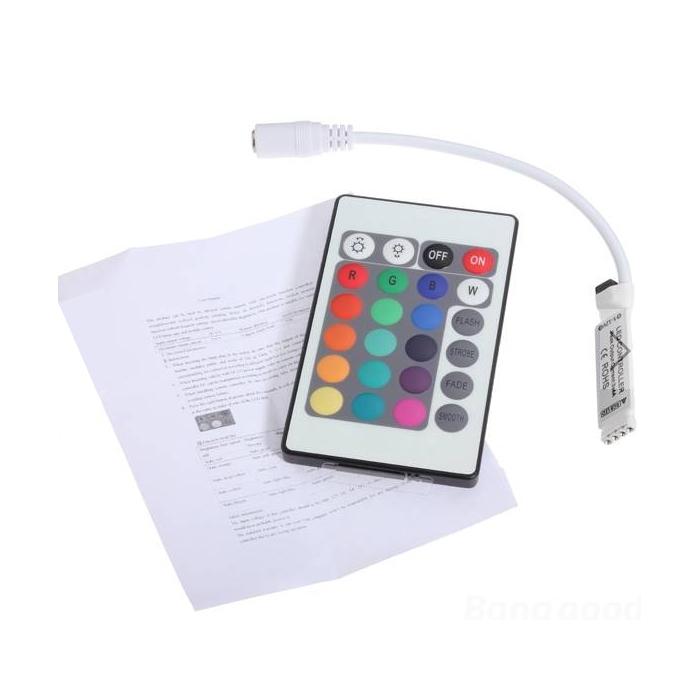 Mini Slim 24 key IR Infrared Controller 5-24V DC for RGB Strip Light, 12V  DC 6 Amp