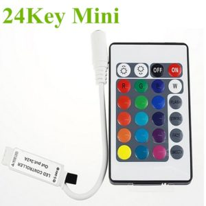 Mini Slim 24 Key IR Infrared Controller 5-24V DC For RGB Strip Light, 12V DC 6 Amp