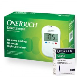 OneTouch Select Simple Glucometer With Box Of 10 Test Strips Free - Jhonson & Jhonson