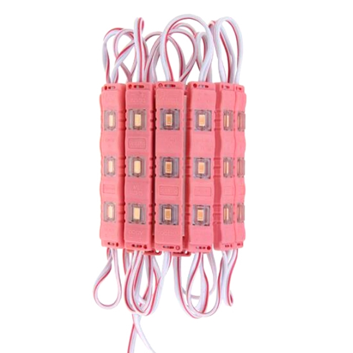 Pink 3 LED Module, DC 12V Waterproof Module Lens High Glow Light Strip 5630/ 5730 LED, Injection LED Module, SMD Module Decorative Light Lamp With Pasting Tape