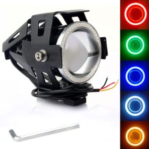 Cree U7 LED Motorcycle Headlight Fog Spot Light Lamp (White Angle Eyes + Red Devil Eye) 3000LM
