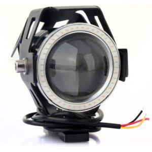 Cree U7 LED Motorcycle Headlight Fog Spot Light Lamp (White Angle Eyes + Red Devil Eye) 3000LM