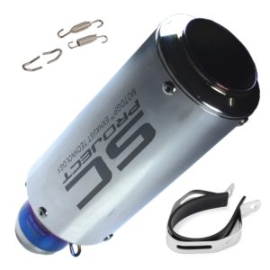 SC Project Chrome Metal Exhaust Silencer Pipe 51-60 Mm Muffler Pipe Universal For All Indian Bike