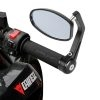 """7/8"""" Handle Bar End Motorcycle Bike Rear View Oval Side Mirror For Indian Bike, Royal Enfield Aluminum Rear View, Black & Silver, 1 Pair"""