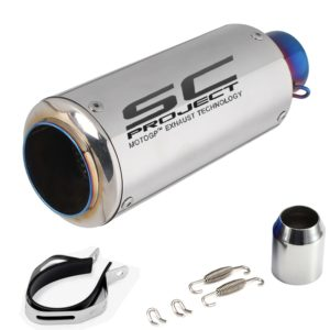 Universal Stainless Steel SC Project Chrome Metal Exhaust Silencer, 36-51mm Muffler Pipe for all Bikes/ Motorcycle