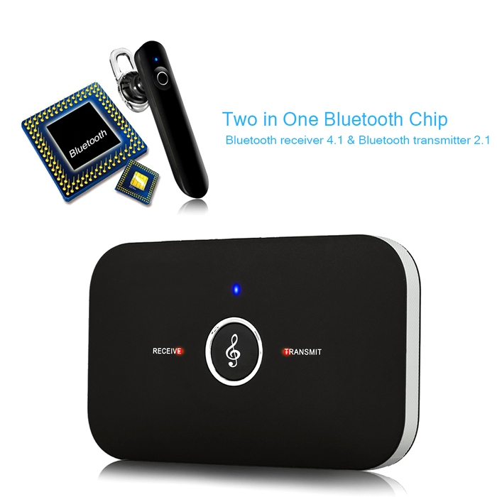 2 in 1 Rechargeable HIFI Wireless Bluetooth Audio Transmitter + Receiver  3 5 mm RCA Music Adapter, Dongle with 3 5 mm Jack and Aux Cable for Car &