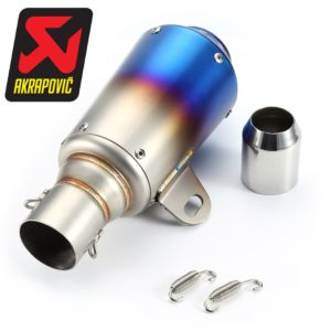 Universal Small Rainbow Blue Head (Rocket) Exhaust Silencer, Muffler Pipe & AKRAPOVIC Sticker for all Bikes