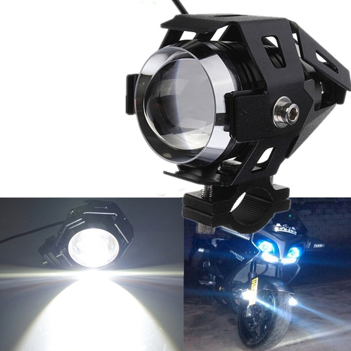 U5 CREE LED Motorcycle Bike 3 Mode Light Headlight Driving Fog Spot Lamp For Royal Enfield & All Bikes, Black