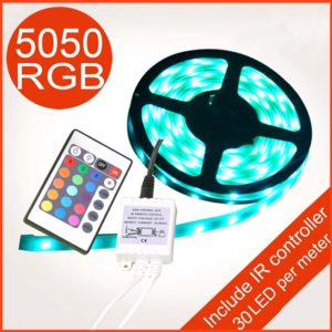 5 Meter RGB 5050 SMD LED Strip, SMD LED Flexible Strip With IR Remote Controller & 12 Volt Supply