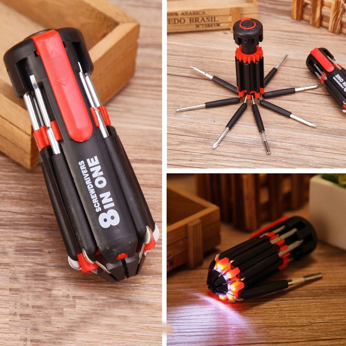 8 in 1 Hand Multi-function Screwdriver Tools Set With 6 LED Flashlight Powerful Torch