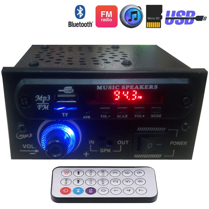 Bluetooth AC/DC Stereo Audio Amplifier MP3 Player Module With Speaker, SD Card, USB, FM Radio, AUX In With Fully Remote Control