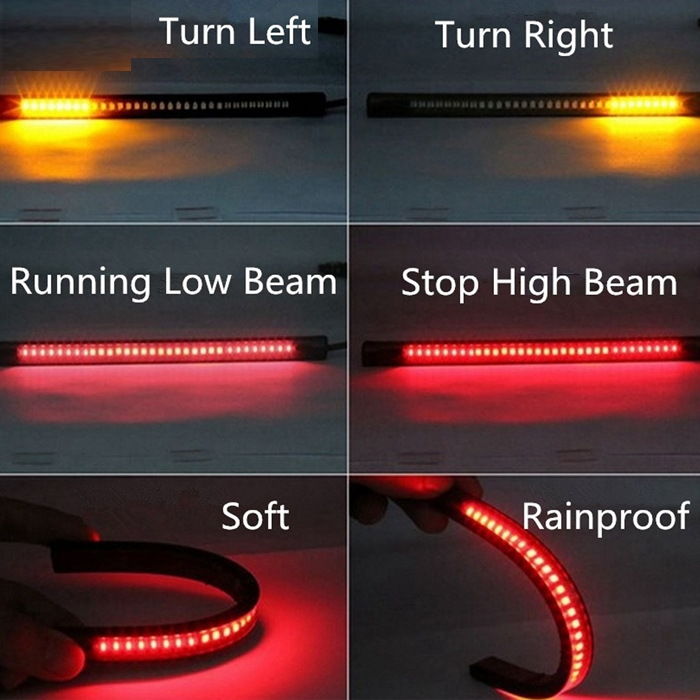 Flexible 8 Inch 48 Led Motorcycle Bike Car Tail Brake Stop Light Strip Turn Sign Light Flashing Red Yellow License Plate Light Waterproof