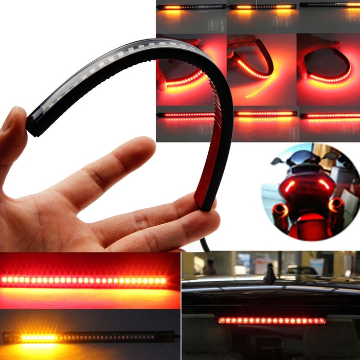 Flexible 8 Inch 48 LED Motorcycle Bike/ Car Tail Brake Stop Light Strip & Turn Sign Light Flashing, Red & Yellow License Plate Light Waterproof