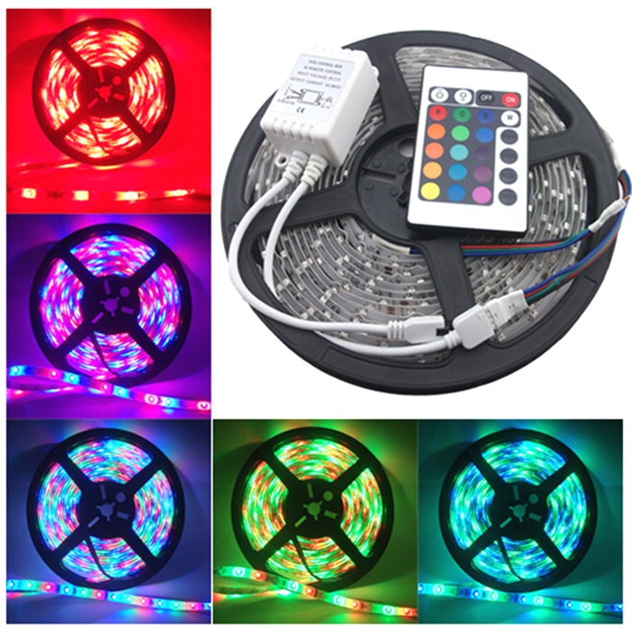5 Meter RGB 3528 Waterproof 300 LED Flexible Strip With IR Remote Controller & 12 Volt Supply