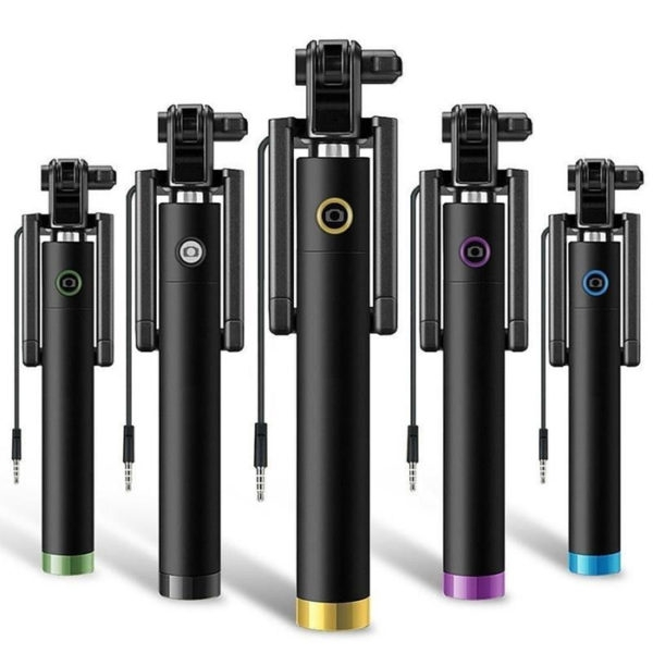 Extendable Handheld Wired Selfie Stick Phone Holder Remote Shutter Monopod With AUX Cable For Smartphone & iPhone