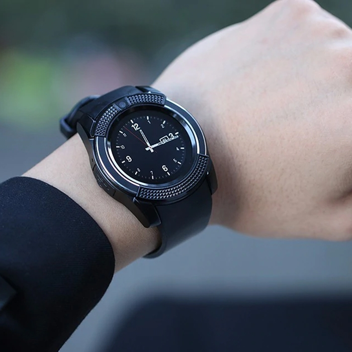 V8 Round Dial Bluetooth Smart Watch Phones For Android, Bluetooth Wrist  Watch, Camera, Pedometer With Sim Card & Memory Slot