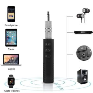 BT450 Universal 3.5mm Jack Car Bluetooth V4.1 Hands Free Music Audio Receiver Adapter With Mic AUX Kit Compatible All Android And IOS Devices