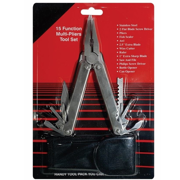 15 Functions Multi-Pliers Tool Set, Pocket Plier Set With Nylon Pouch, Ideal For Indoor/ Outdoor