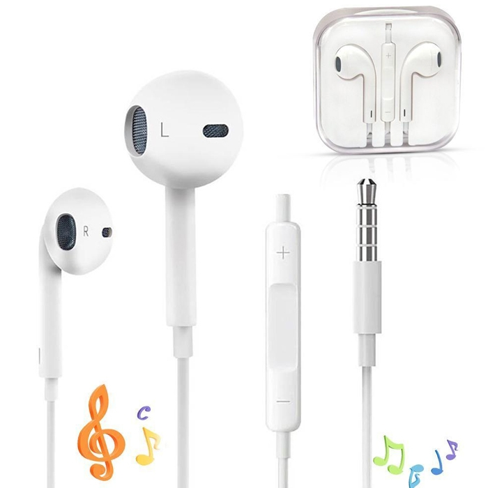 White Earphones Earbuds Headphone Mic & Volume Control For Mobile & For Ipad, IPhone 5/ 5c/ 5s/ 6/ 6s/ 7 Plus