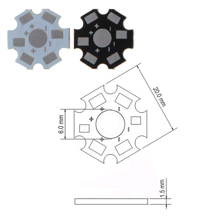 1W/ 3W/ 5W LED Heat Sink Aluminum Base Plate 20mm LED Board Kit DIY High Quality Star Heat Sink