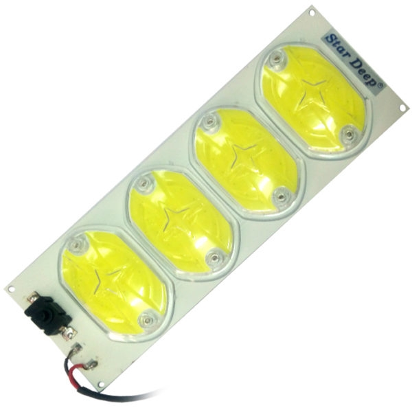 12 Volt DC 72 COB 36 Watt 4 Big Chip LED SMD Cool White Light With On/ Off Switch & Glass Protection Cover