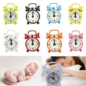 Portable Cute Mini Round Battery Alarm Clock Desktop Table Bedside Round Desk Alarm Clock Decor