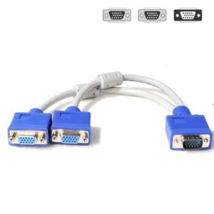 VGA 15 Pin PC SVGA/ VGA Male To Dual Female VGA Monitor Y Adapter Splitter Cable Connector
