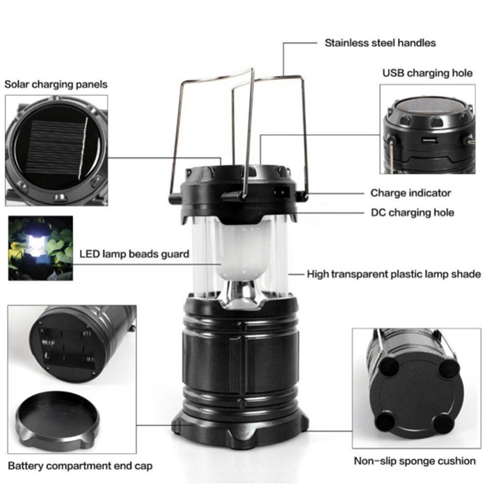 Solar Rechargeable LED Flashlight Power Camping Tent Light Torch Lantern Lamp, 2 Power Source Solar & Battery, USB Output
