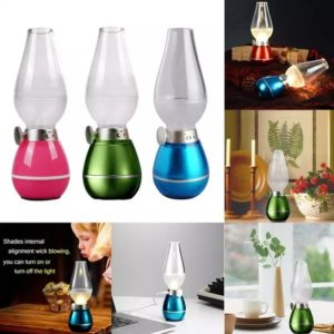 Rechargeable LED Retro Lamp Night Light Revolutionary Mouth Blowing Control Sensor 0.4W