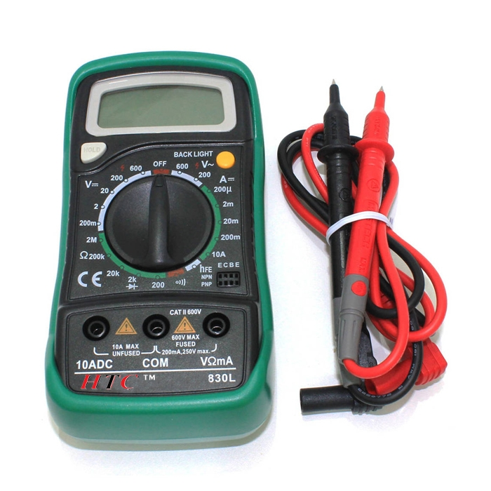 HTC 830L Handheld Digital Multi Meter With LCD Back Light, Voltmeter Ammeter AC/DC/OHM Volt Current Tester